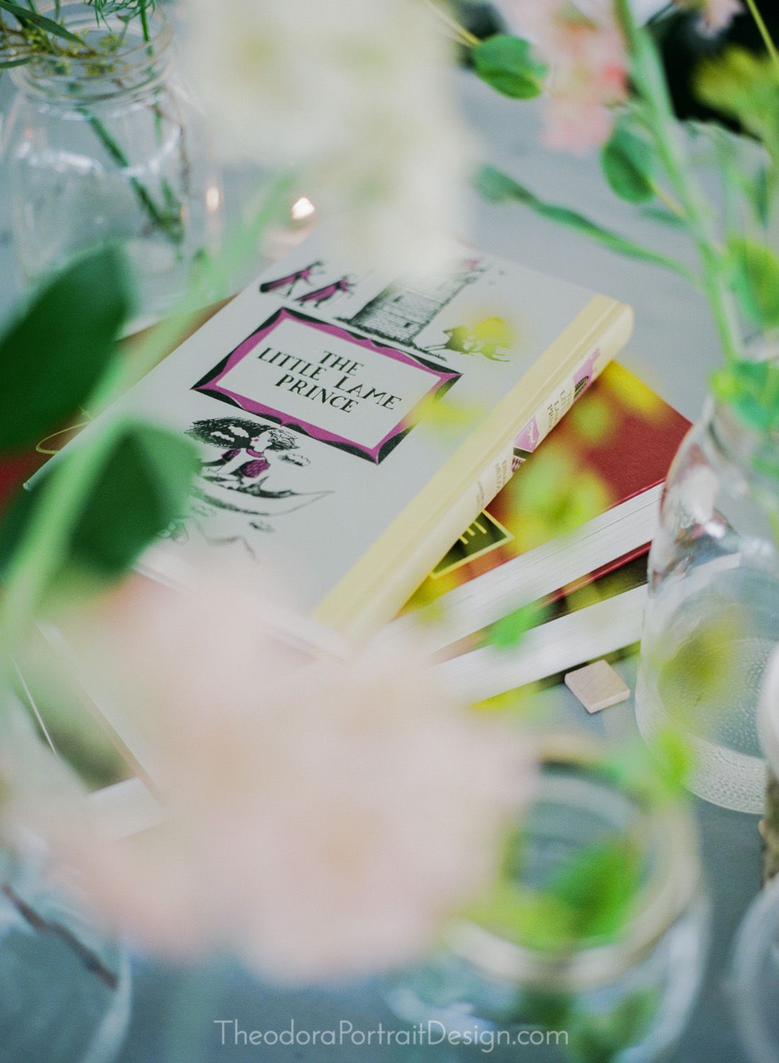 vintage books and flowers    film wedding photography