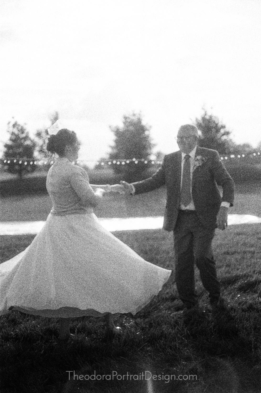 father daughter dance   www.TheodoraPortraitDesign.com   film wedding photography