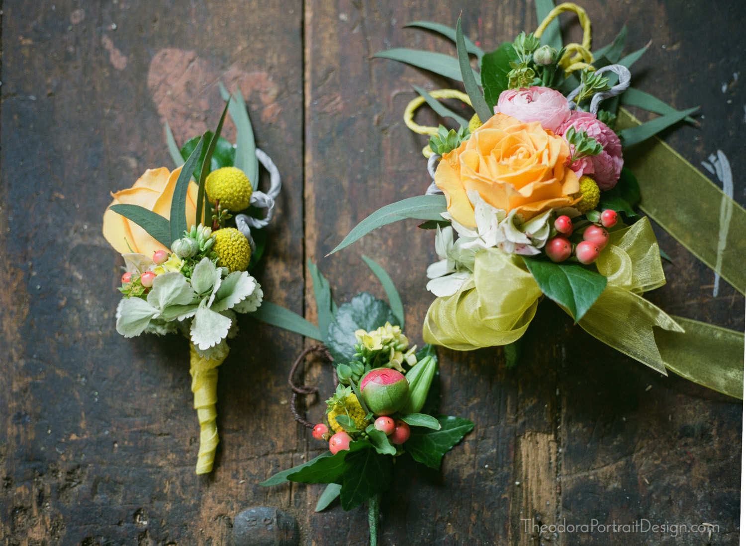 wedding boutonnieres and corsages on a perfectly aged rustic workbench  www.TheodoraPortraitDesign.com