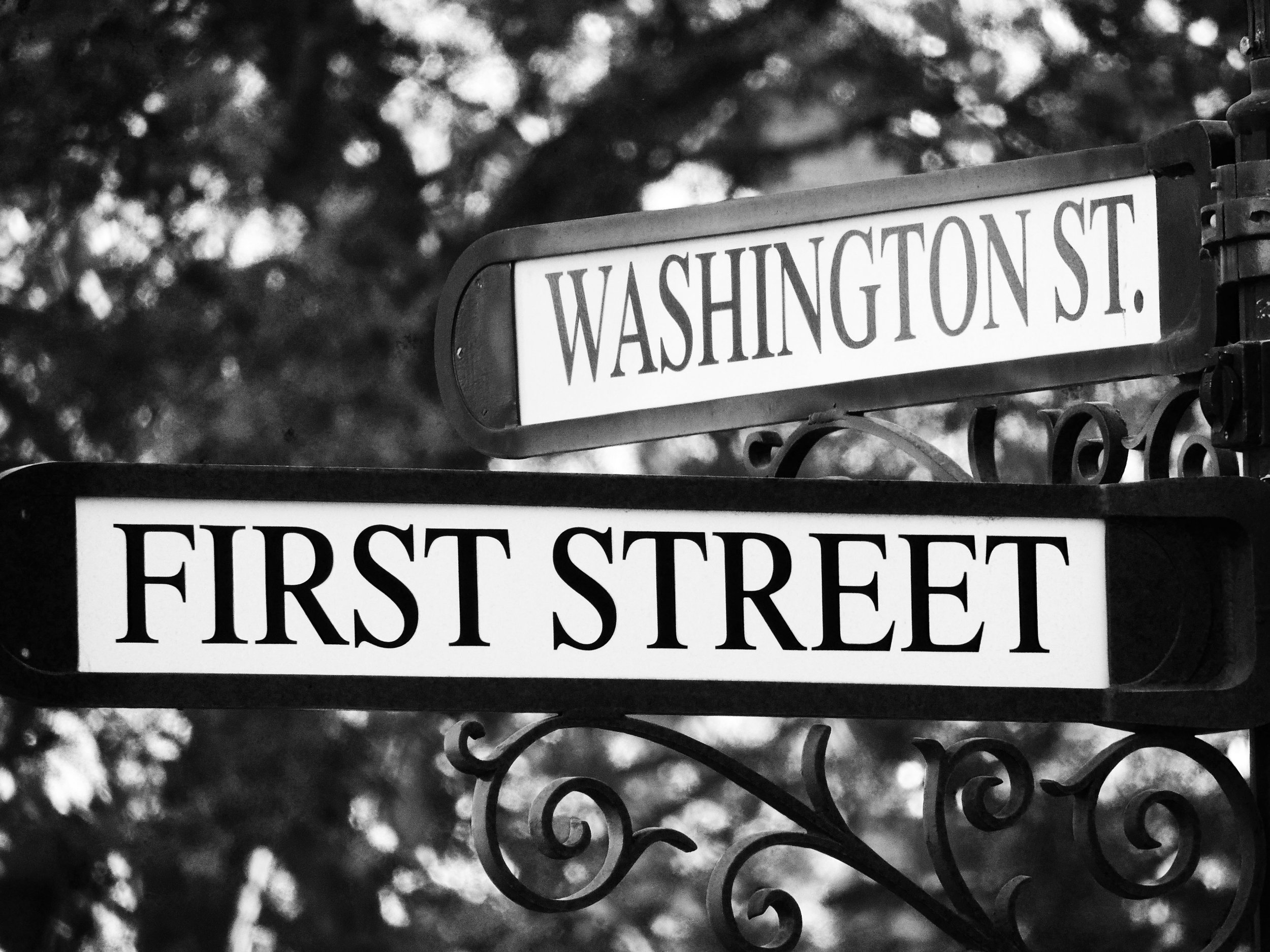 Black and White Hoboken Street Sign Photograph