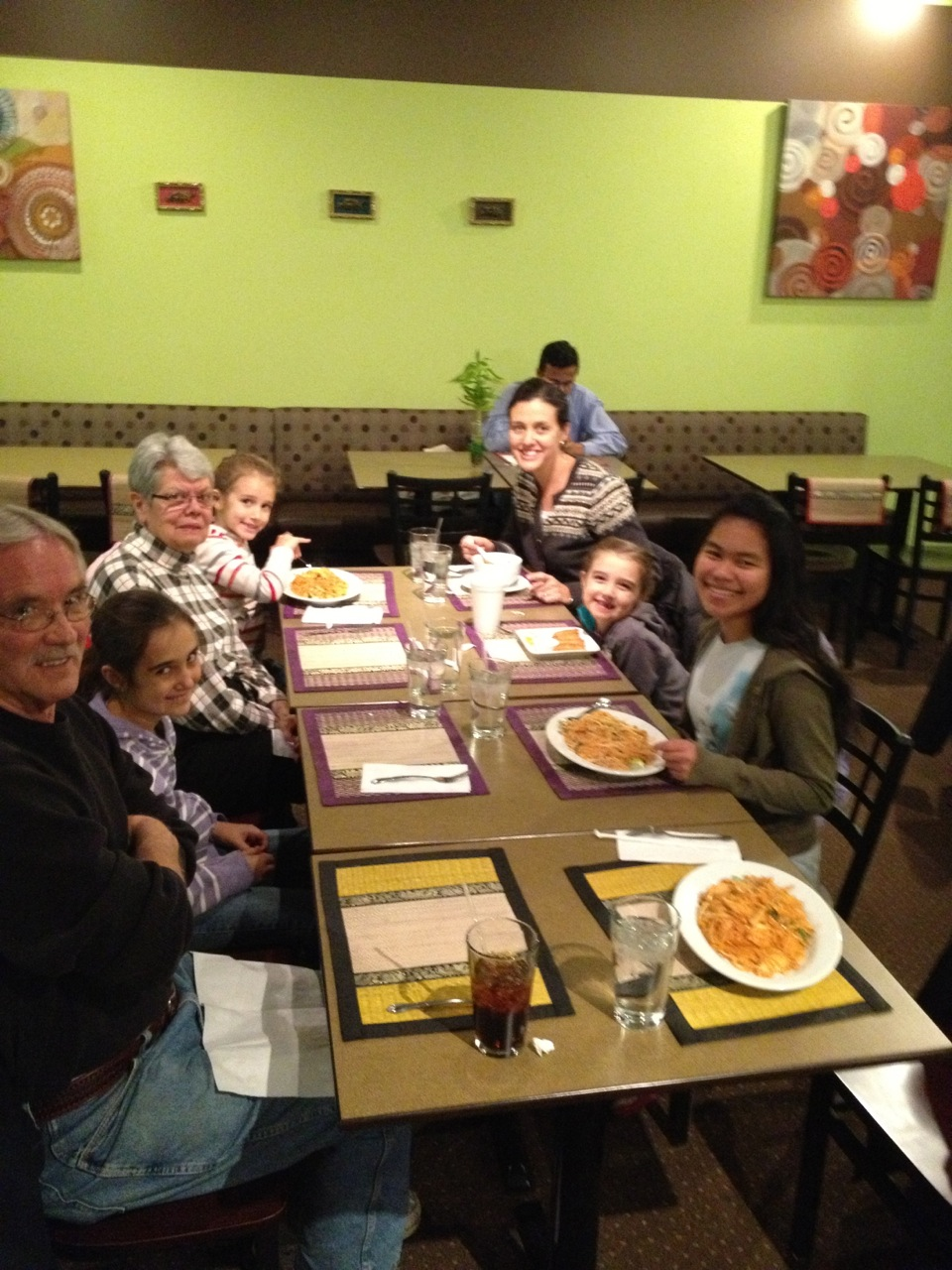 Here's our family plus a grandma and a grandpa eating at a local Thai restaurant in honor of Gotcha Day.