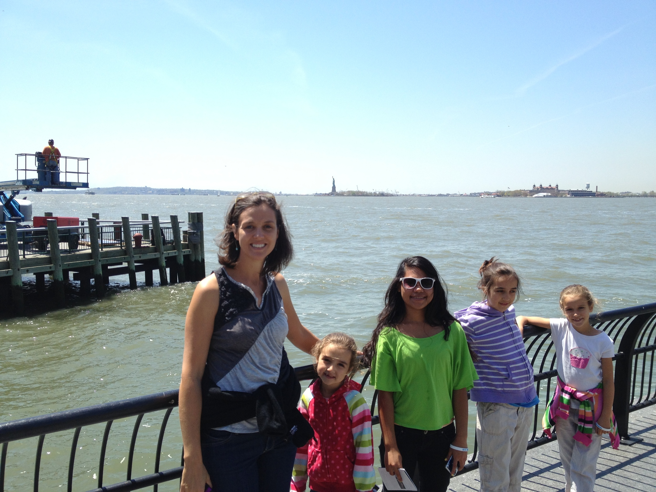 The Statue of Liberty.  The girls thought she was pretty small.