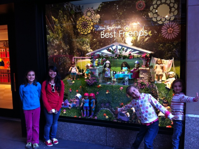 In front of the American Girl store in NYC.