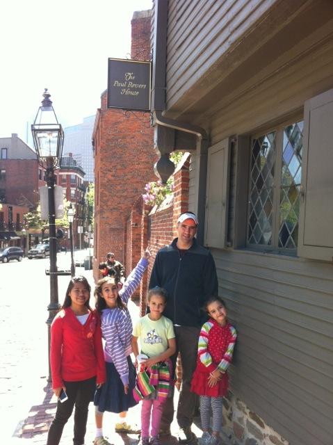Outside Paul Revere's house in Boston.