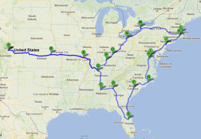 Map view of our route