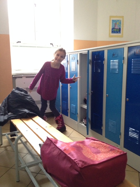 The kids go to a locker room at the beginning of the day to take off their coats and boots and hats and gloves and ski pants (it's true!). They have to be seriously bundled to walk to school in the Czech Republic!