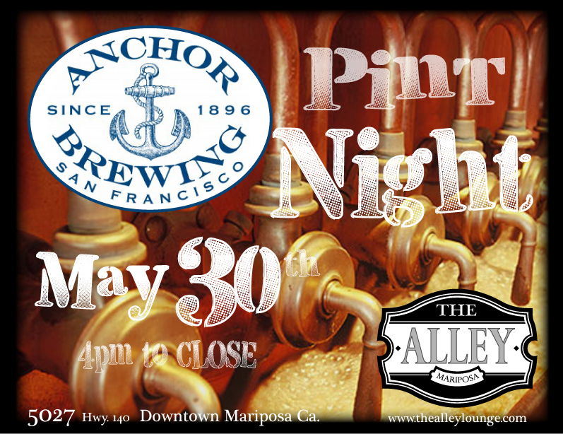 The Alley Will be hosting a tap-takeover and pint night with Anchor Brewing May 30th! Your first beer includes a logo pint glass. There will be Games and prizes!!! See ya'll then....