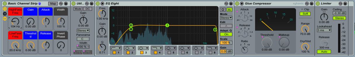 """This shows how you can use the """"High Pass Freq"""" knob to remove low frequency sounds. When you look at EQ Eight always remember the frequencies is beneath the orange line are the ones you are going to hear."""