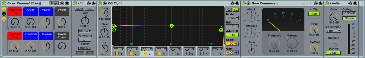 """The """"Basic Channel Strip"""" consists of a Utility (Grey Macros), an EQ Eight (Red Macros), a Glue Compressor (Blue Macros) and a Limiter."""