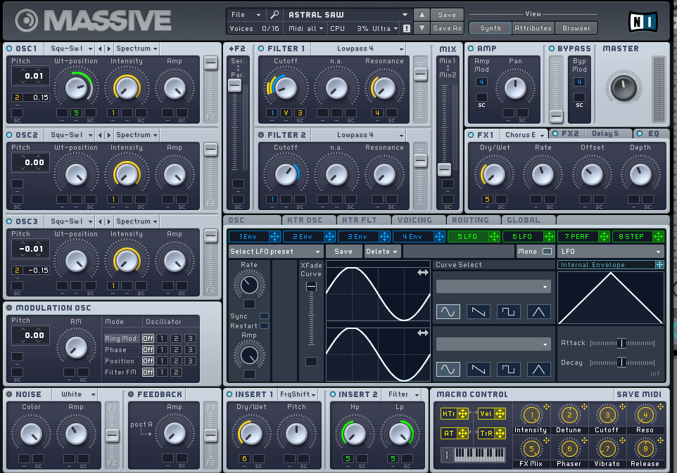 In this example, LFO 5 is being used to control the Wavetable positions of OSC 1 and the HP and LP knobs on Insert FX 2.