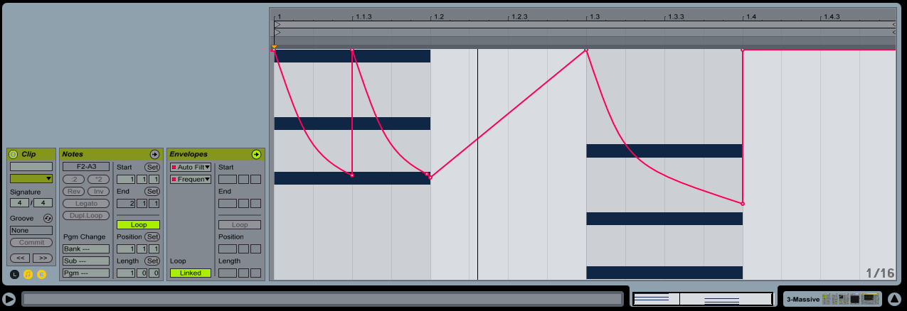 Automation is used in this case to add a rhythmic LP filter sweep to a pad sound.