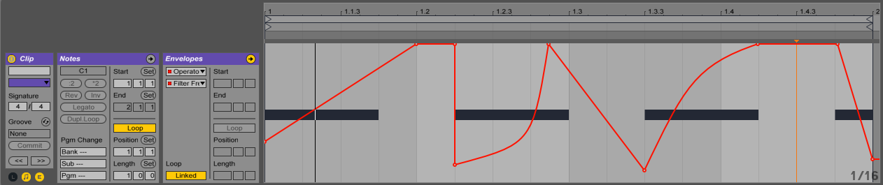 Click on the little E button in the bottom left (beneath the Clip box)and an break point envelope will appear. The drop down menus in the Envelope box will tell you what parameter the break point envelope is controlling.