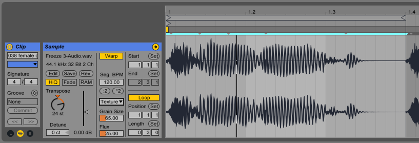 After the audio clip was flattened I repitched the audio clip (+24 semitones) with texture warp mode.