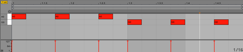 Above the pitch of the kick drum follows the chord changes.