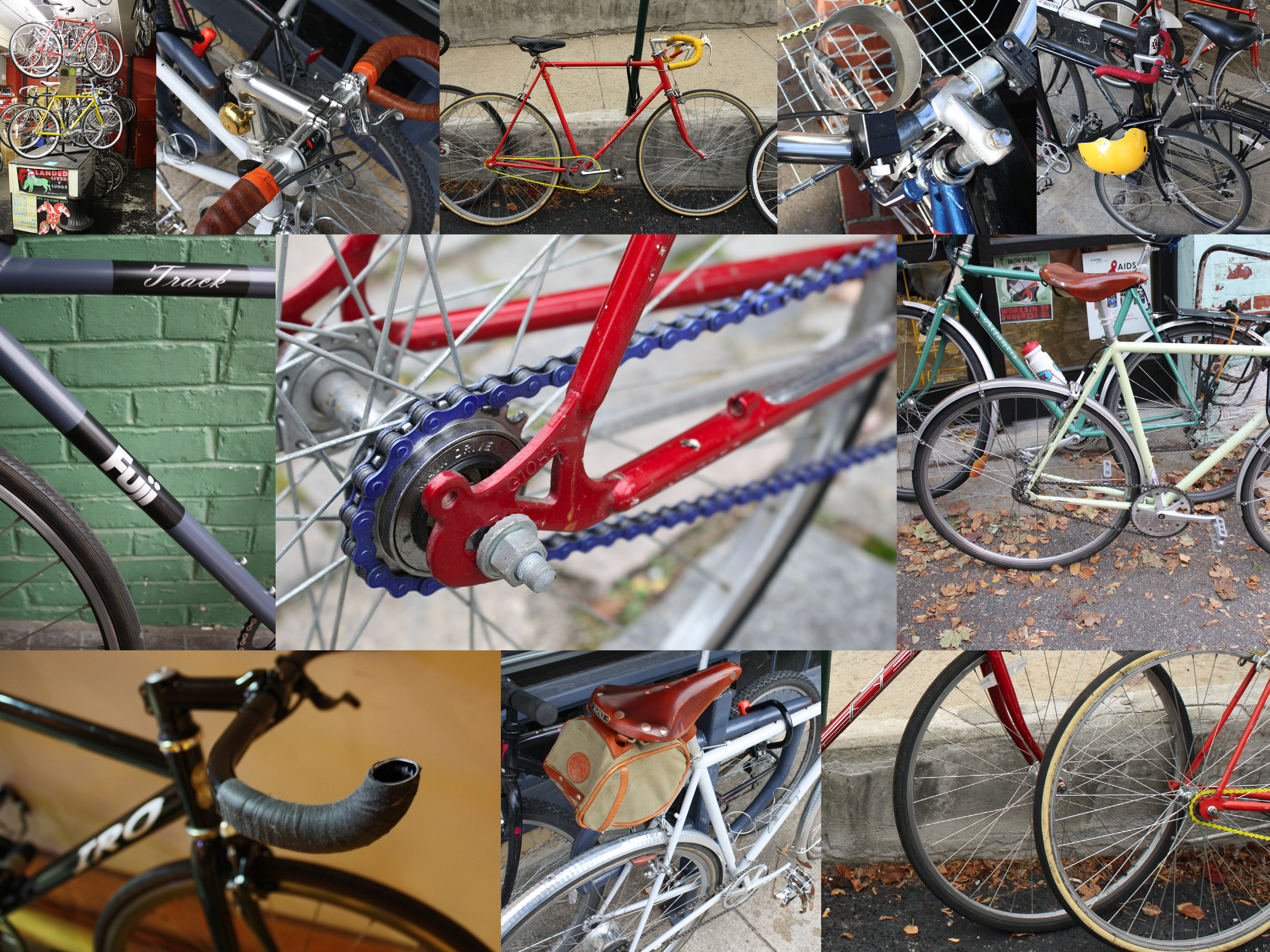 Examples of colors and materials on bike frames and accessories