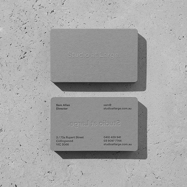This week marks a 6 year milestone for the studio. Thank you to all of our clients and collaborators for your support. It's been a wild ride so far✌🏼 . Special shout out to pals @hungryworkshop for these little beauties. Embossed, letterpress printed and custom die cut on @gmundpaper Heidi Faded Grey 530gsm. . 📷 Shot by folio wizard @foliolio . #studioatlarge #letterpress #gmundpaper #businesscards #melbournedesign