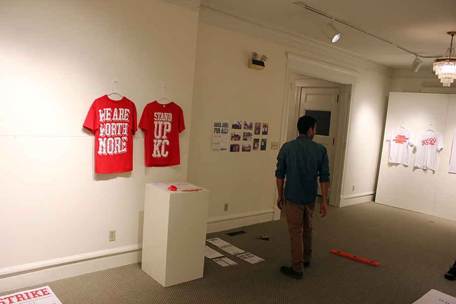 jared horman helping with exhibit setup.