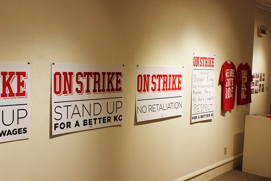 """stand up kc"" campaign materials, in support of a living wage and better working conditions for k.c. fast food workers."
