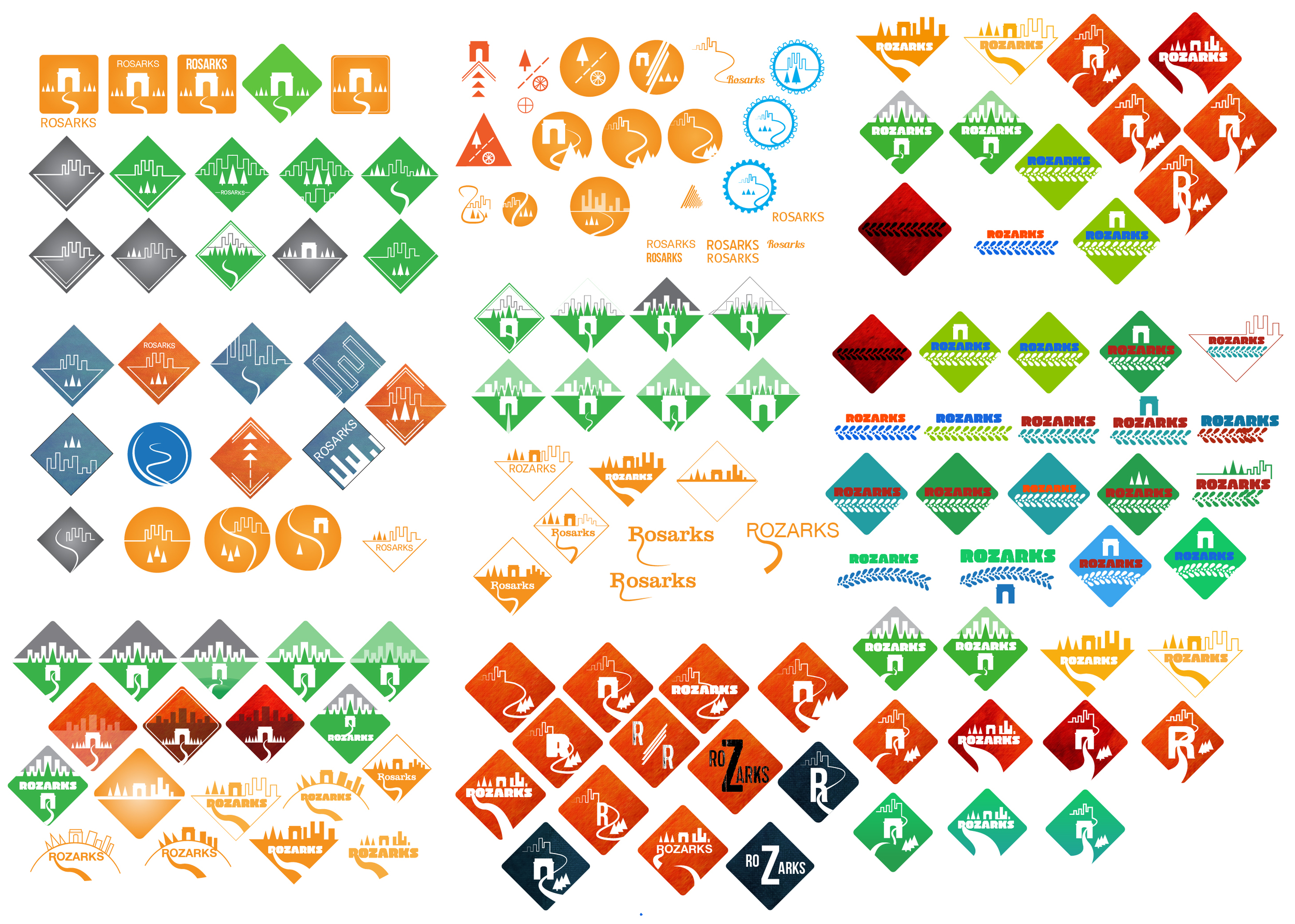 Here are all of the iterations I did over time to try to get ideas, colors, and typography down on the new logo. I definitely wanted to include the city, arch, and the trails to represent that these are urban trails. I liked going for a diamond like shape to represent a park sign.