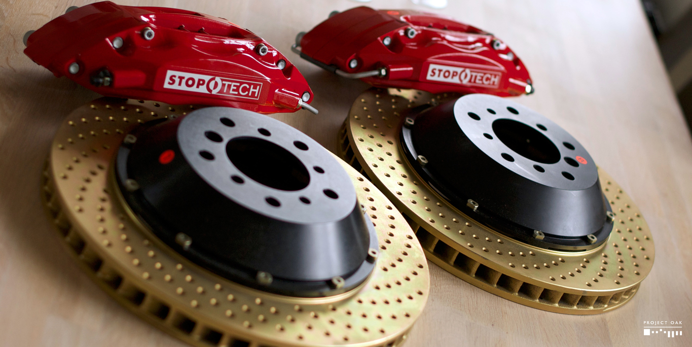 Stoptech ST-40 calipers with cross drilled, zinc plated 355mm discs.