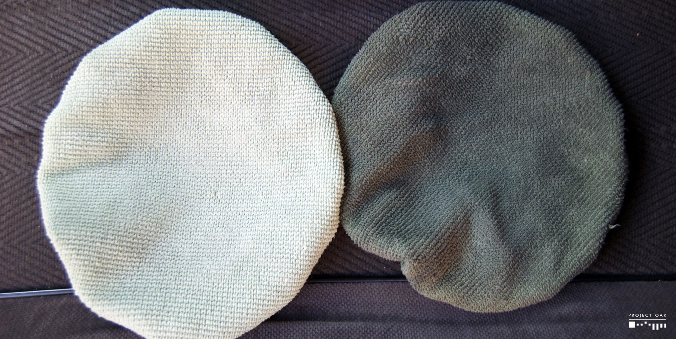 Same microfiber, two different colors. Left is washed - Right is after washing dashboard plastics.