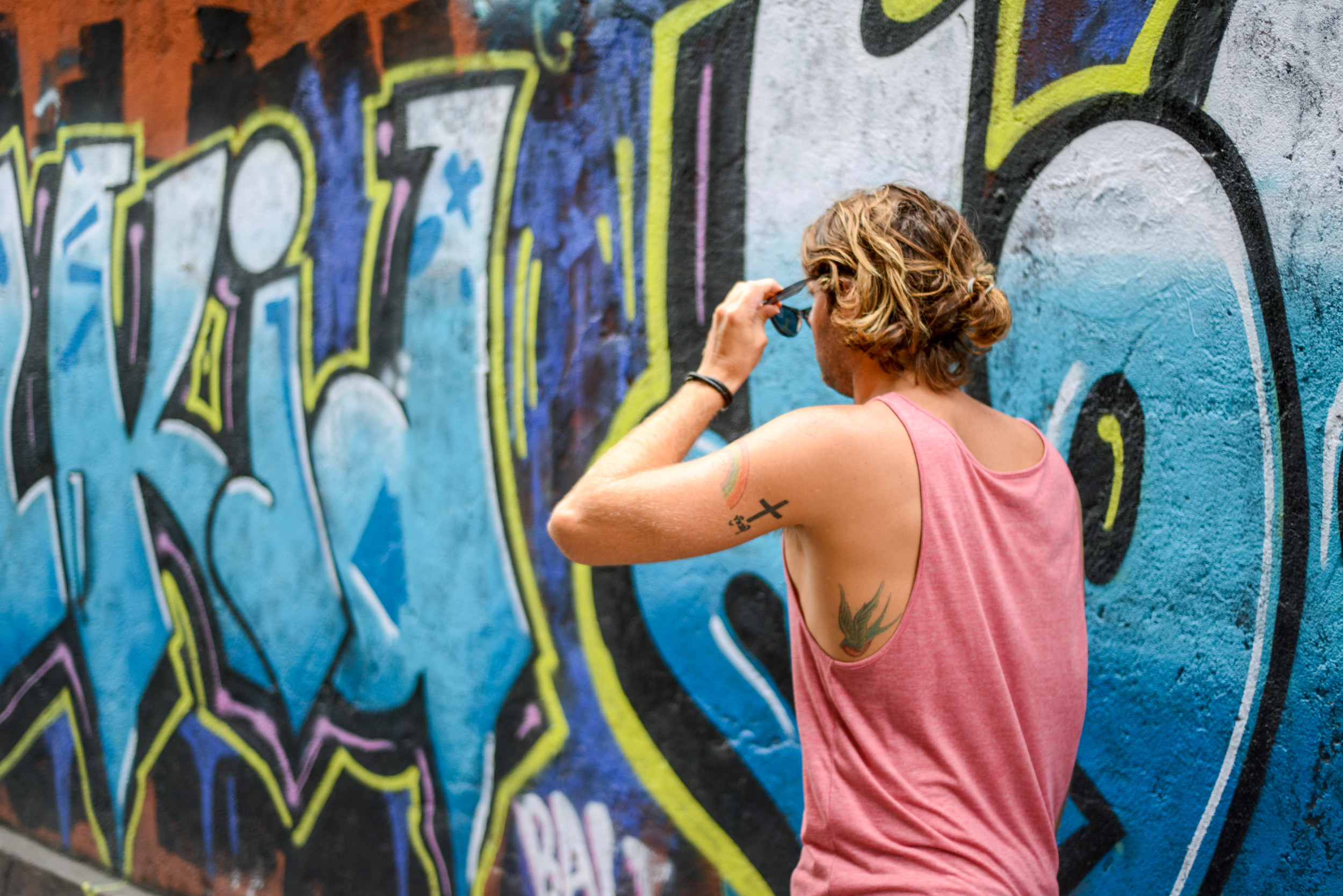 Colourful graffiti on the streets of Kuta.