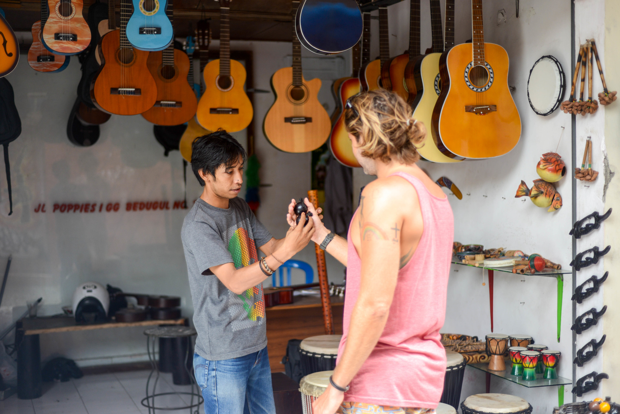 Jonny getting a percussion lesson from a local in Kuta.