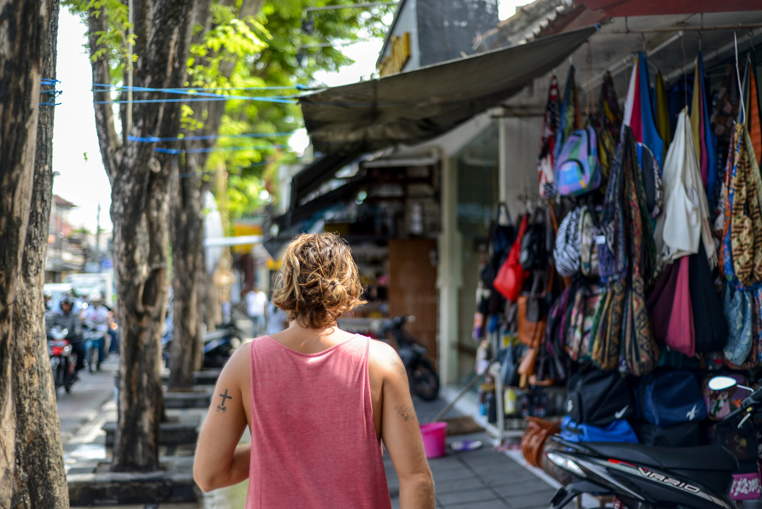 Jonny walking the streets of Kuta.