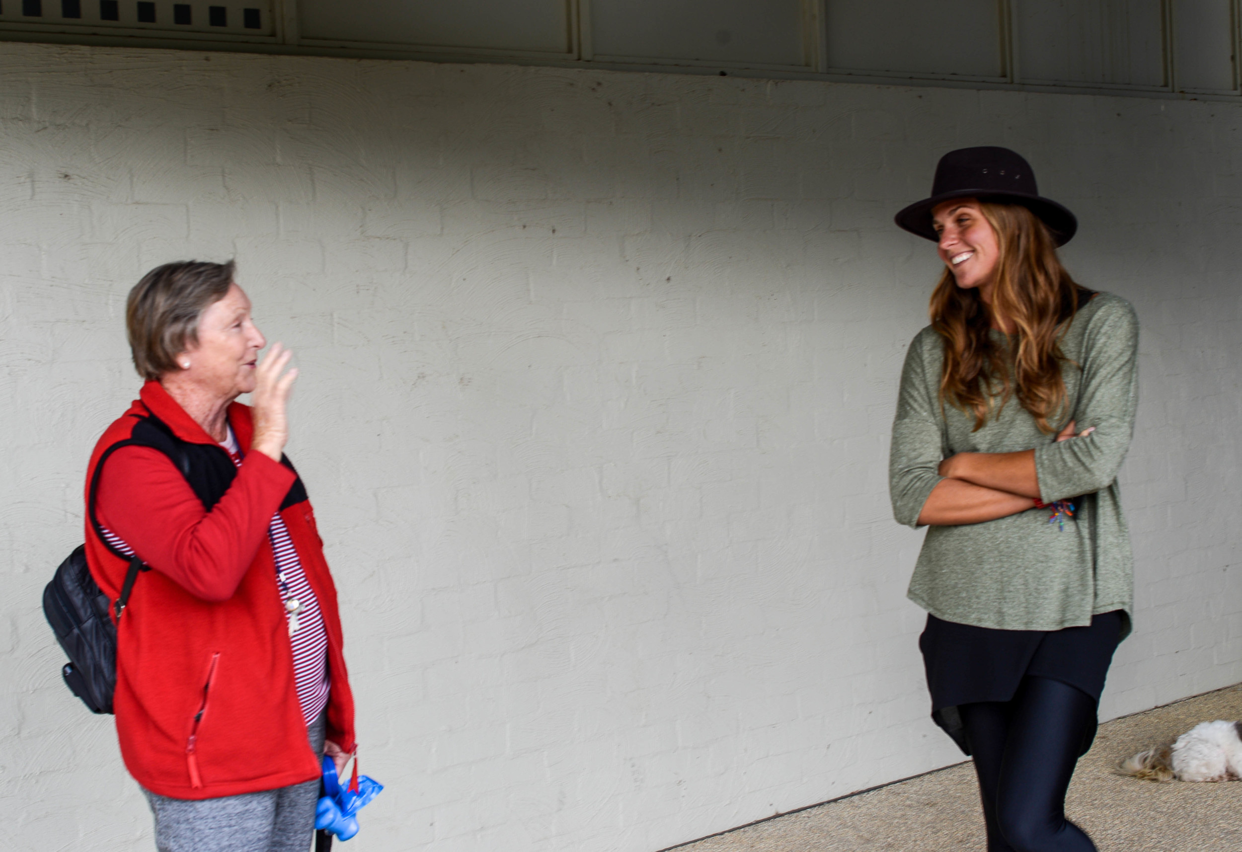 Jess chatting with Bev about her dream to sky dive.