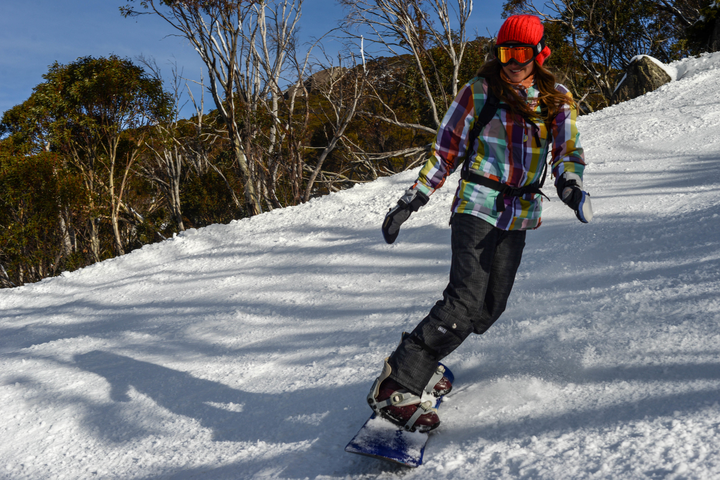 Snowboarding in Perisher, Kosciuszko National Park, New South Wales.