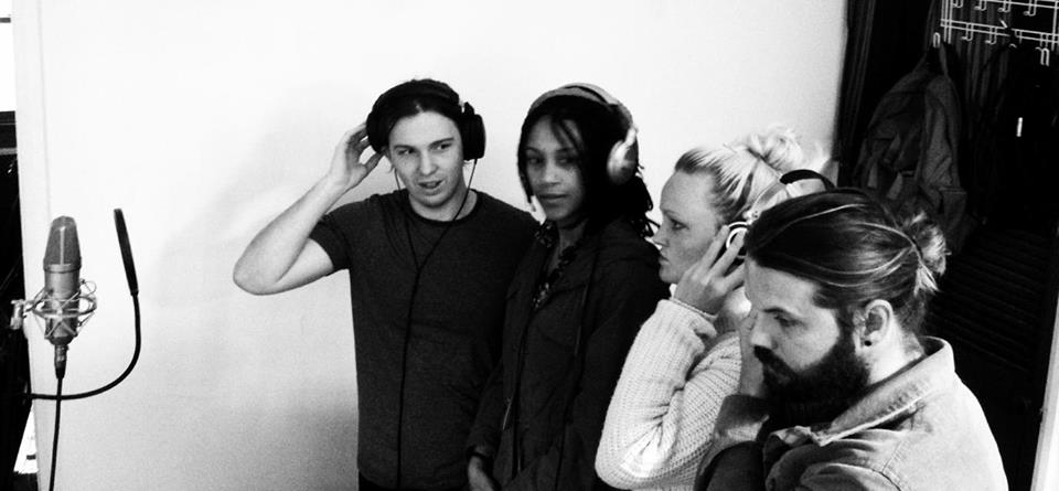 This was such a fun moment in the recording process. James, Donna, Amy and I providing some mini choir sounds.