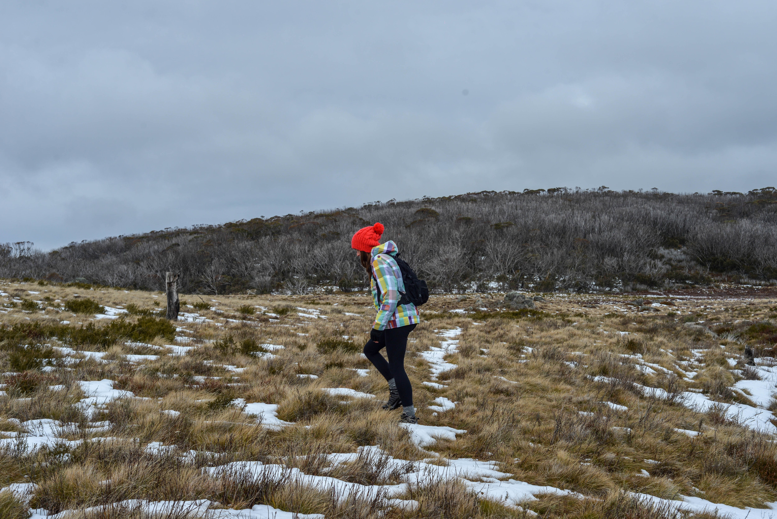 Hiking to Rainbow Lake in KosciuszkoNational Park, New South Wales.