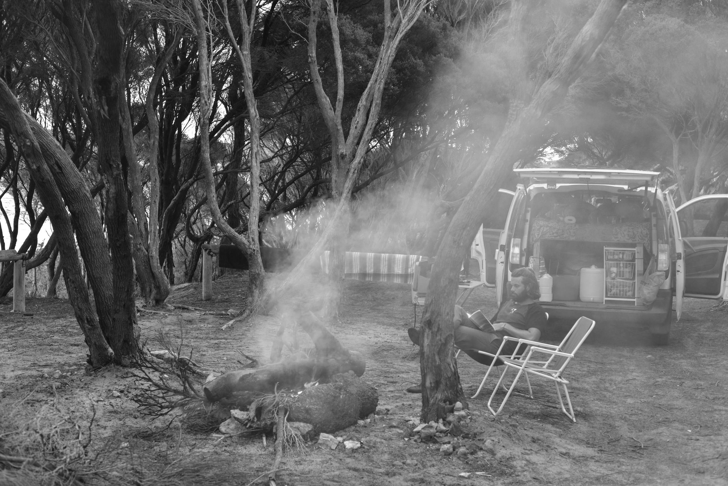 Evenings around the fire at Mason Bay, Western Australia.