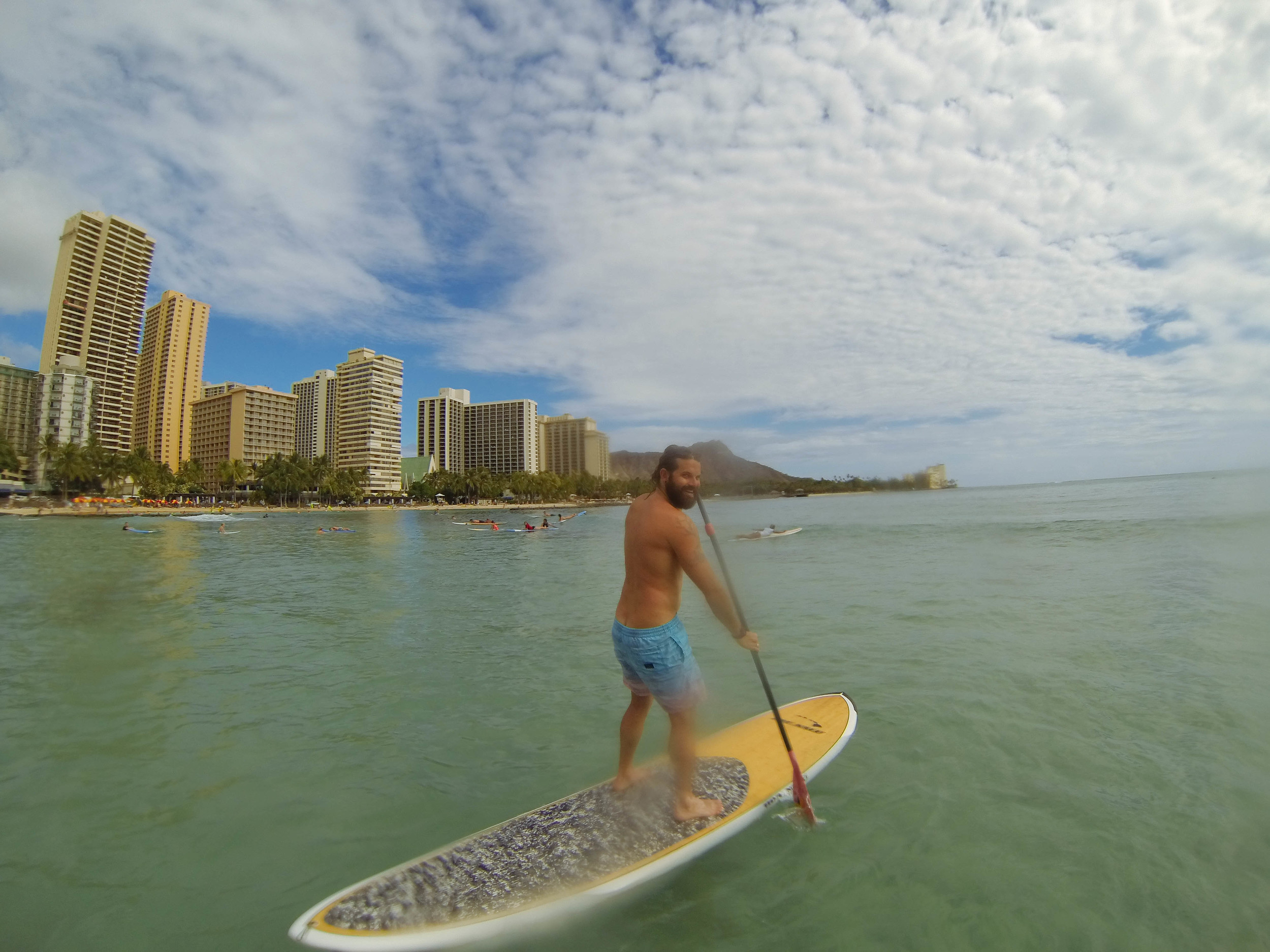 SUP at Waikiki Beach, Oahu.