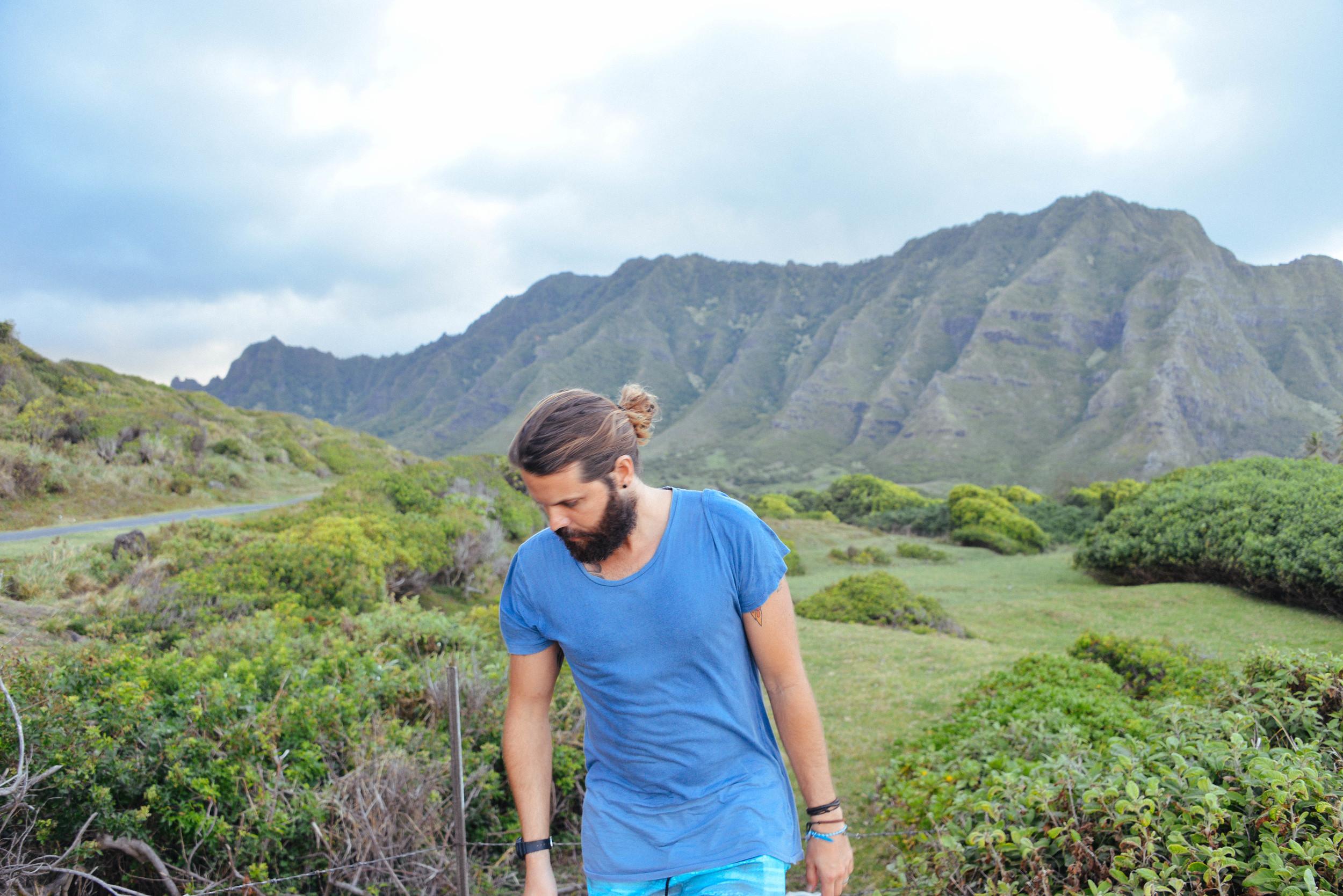 Jonny infront of Ahupura'a O Kahana State Park, Oahu, where they filmed Jurassic Park.