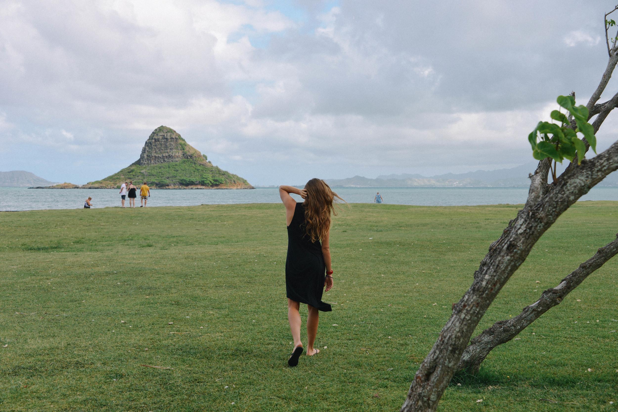 Jess looking out overMokoli'i Island, Oahu.