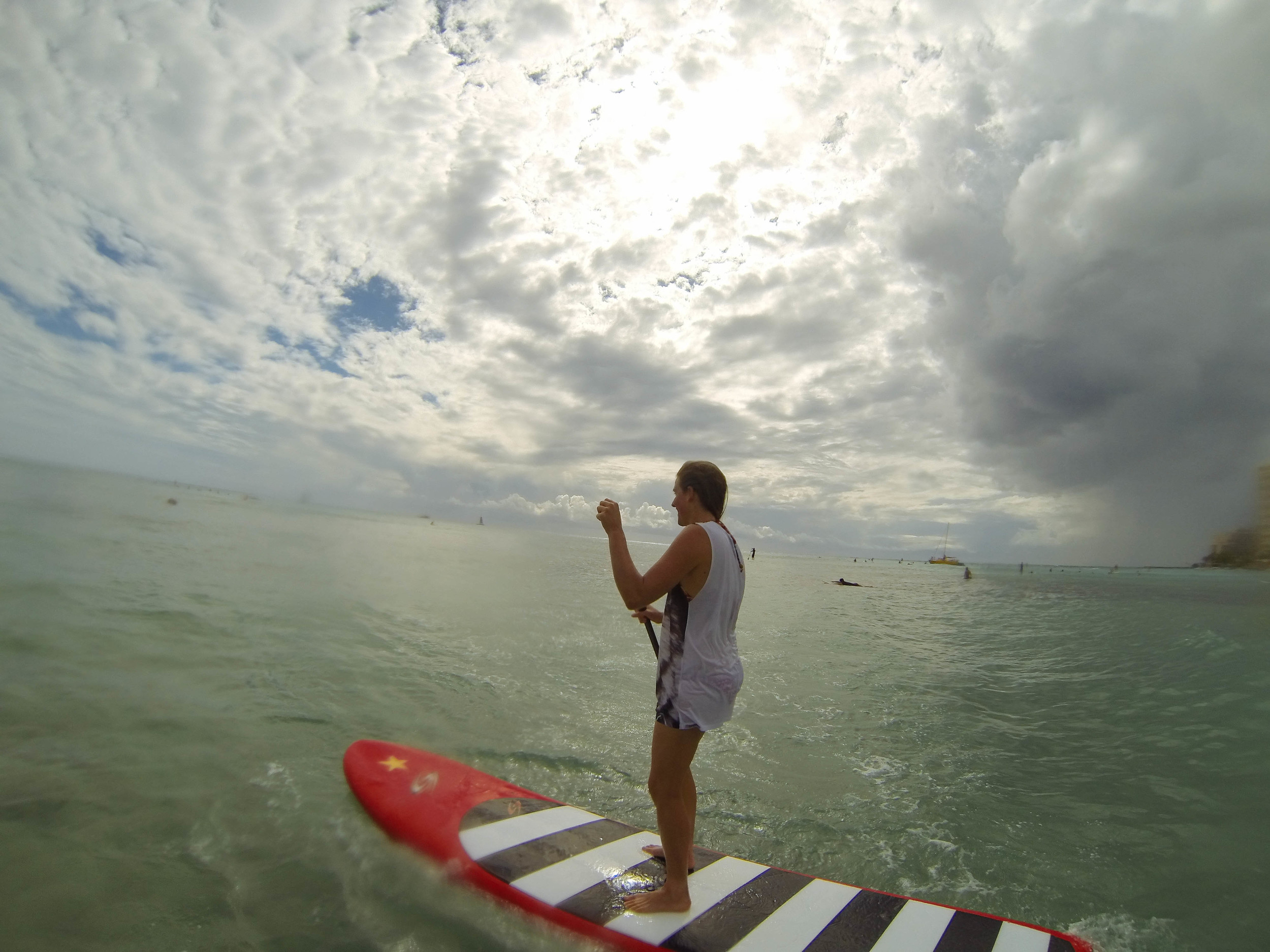 SUP at Waikiki Beach, Oahu.