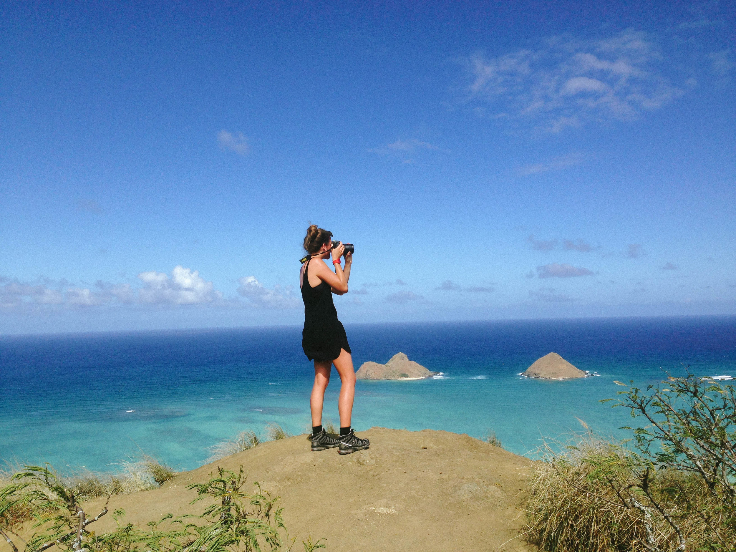 Jess documenting our Pill Box hike, Oahu.