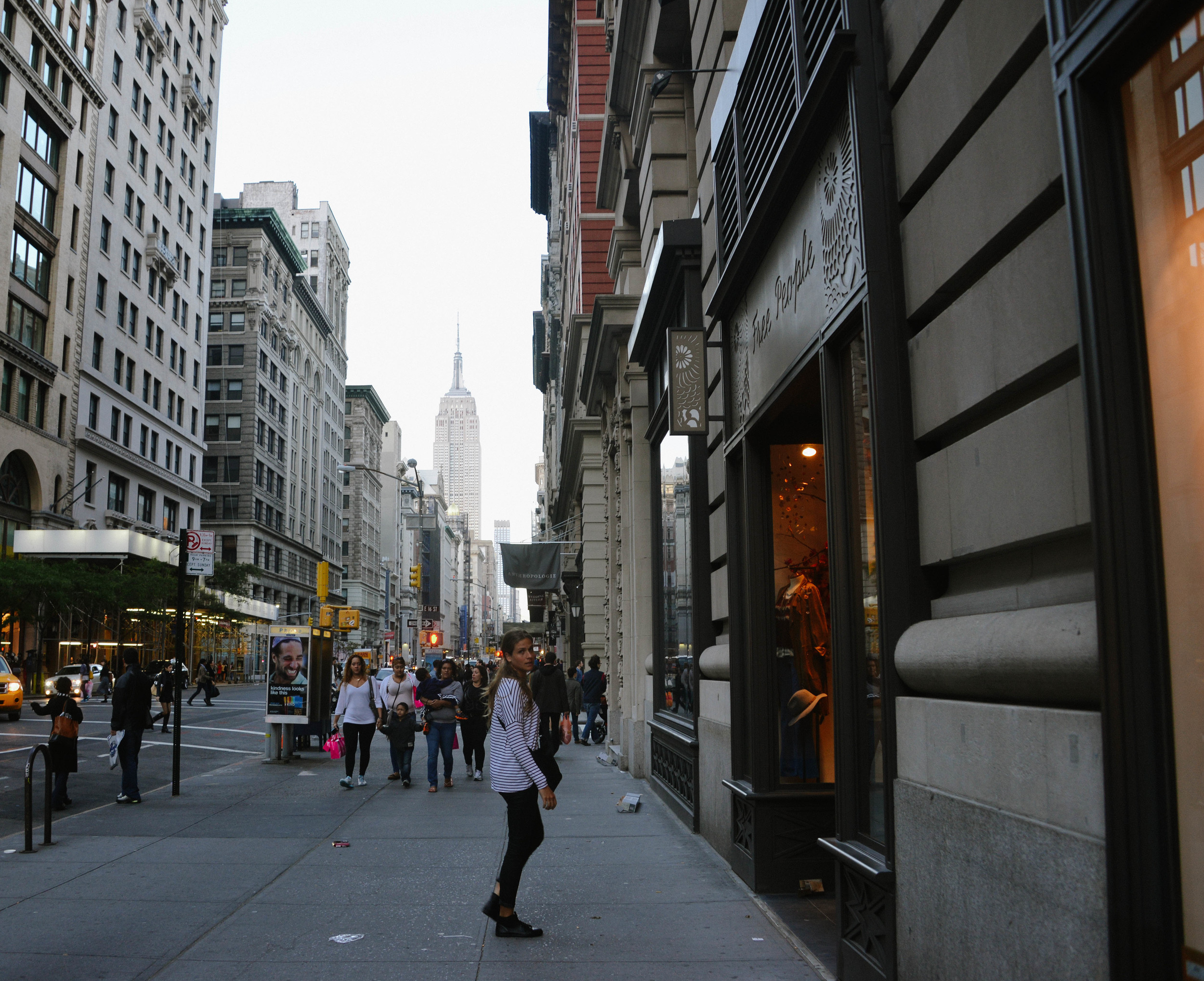 Walking down 5th Avenue.