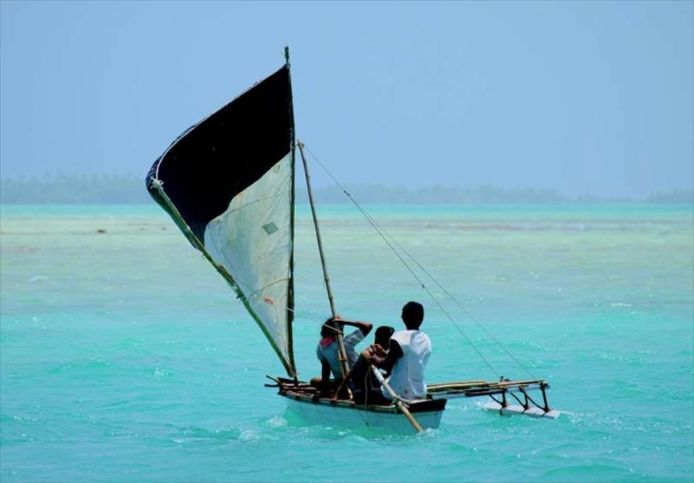 Kiribati Lagoon sailing. Photo by Liz Clark.