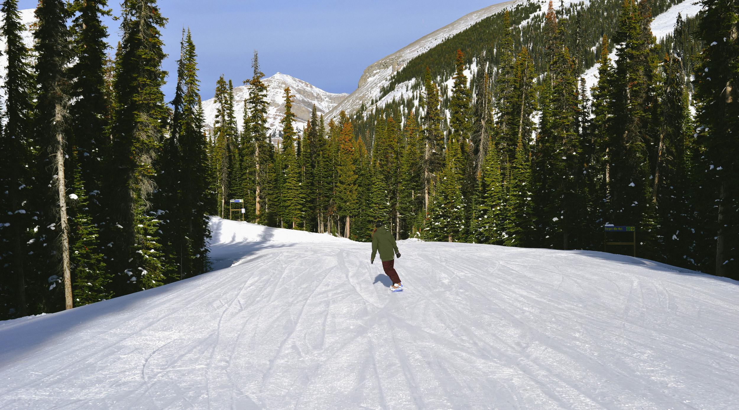 Jess snowboarding.