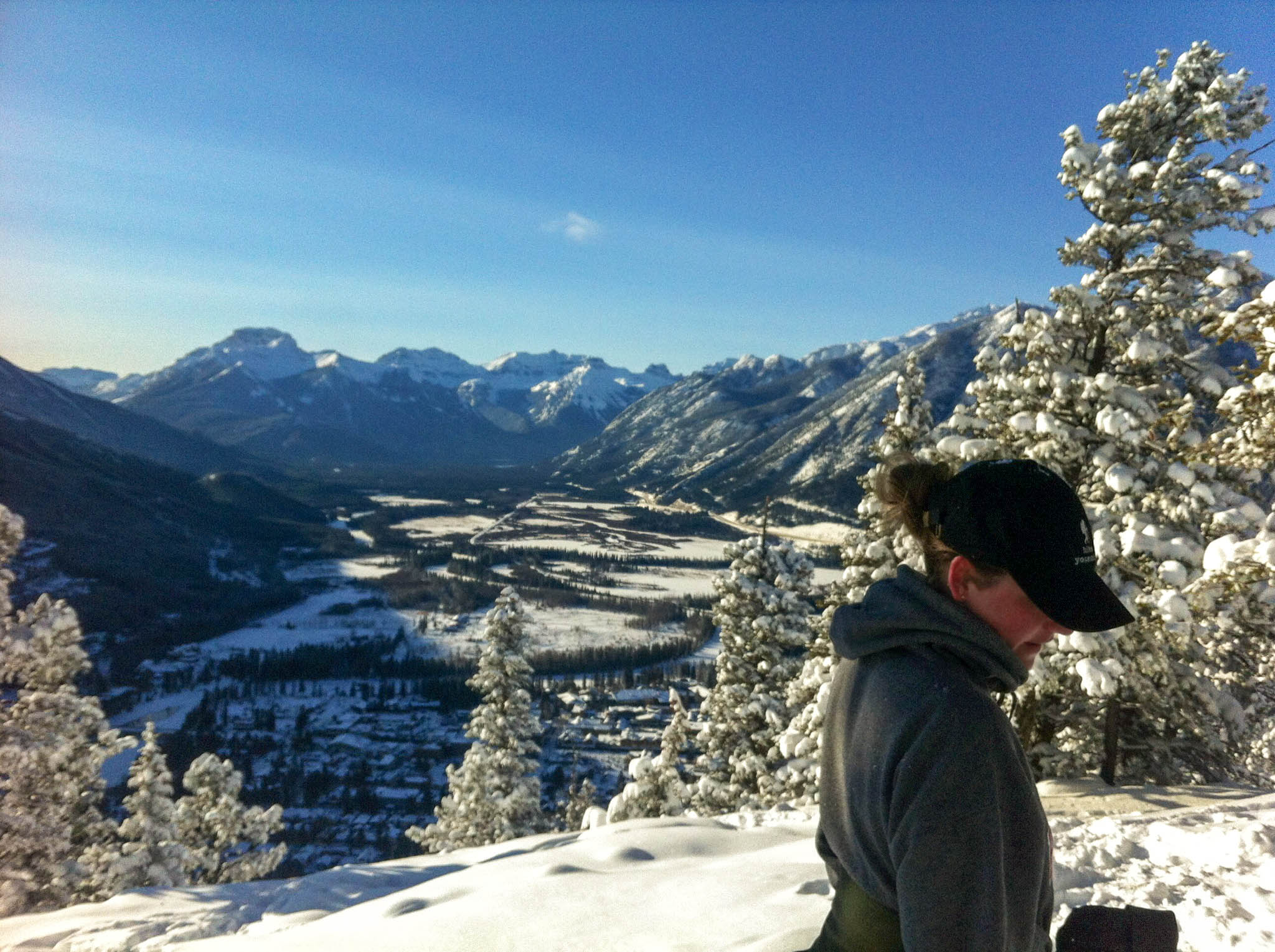 The view of Banff from the top of Tunnel Mountain.