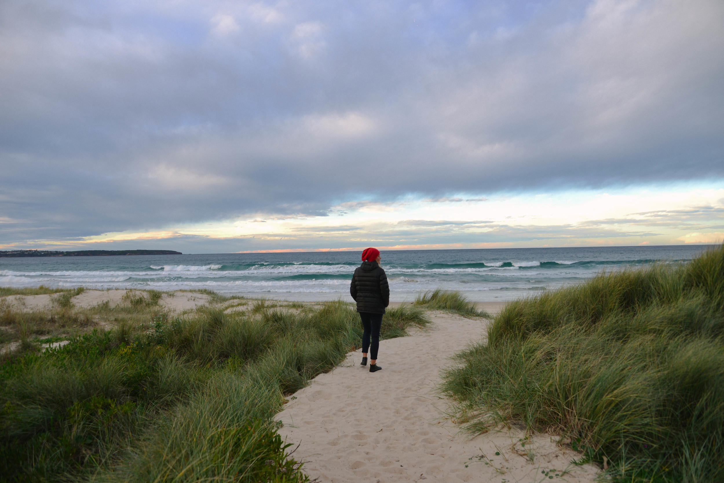 Walking from the Big 4 to the beach at Pambula
