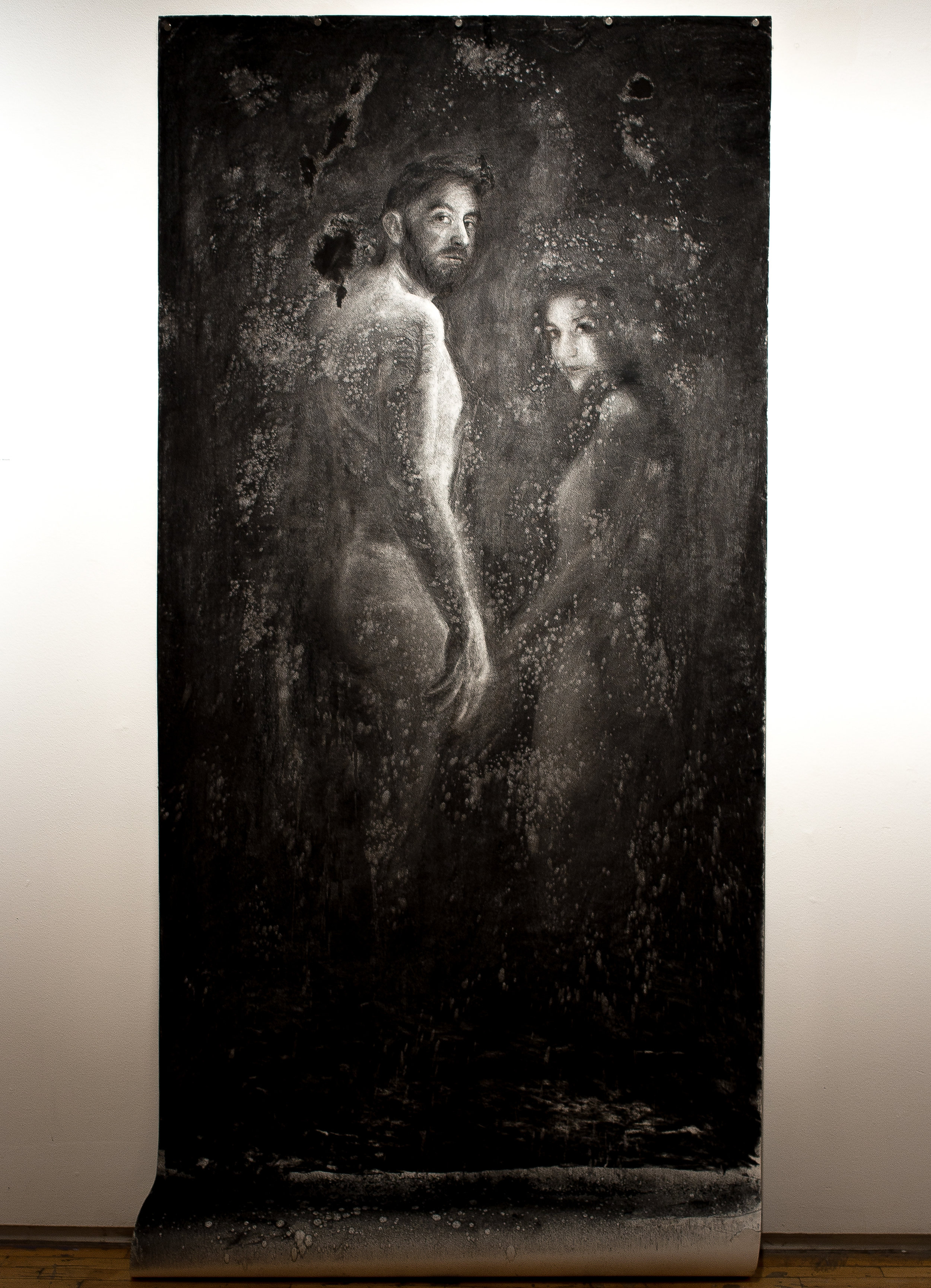 Ways to say hello, 3ft x 7ft charcoal on paper