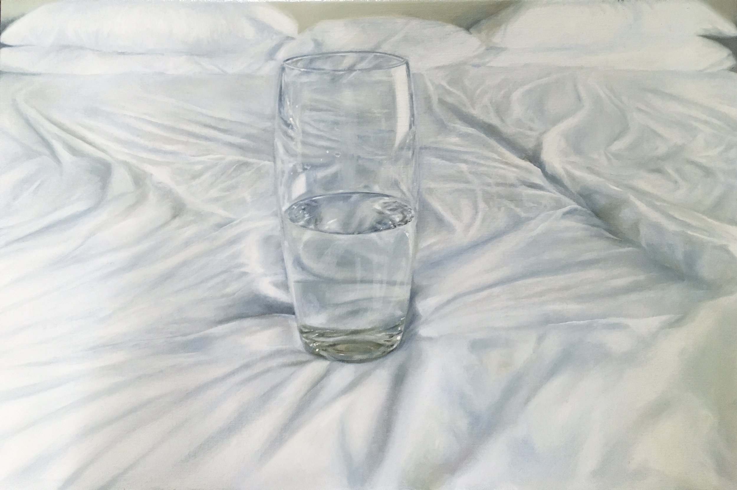 Glass of water on the bed, 45 x 30cm oil on canvas