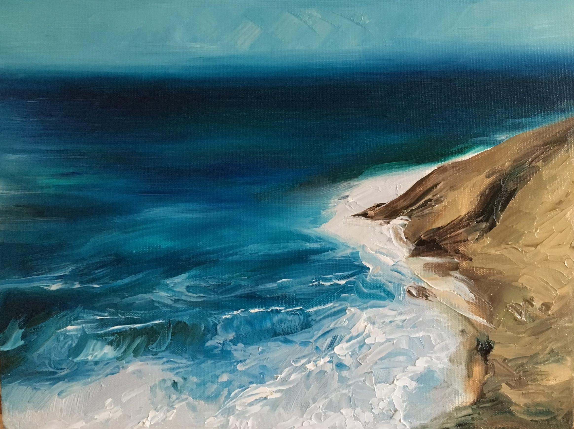 "Foamy sun, 12 x 9"" oil on canvas"