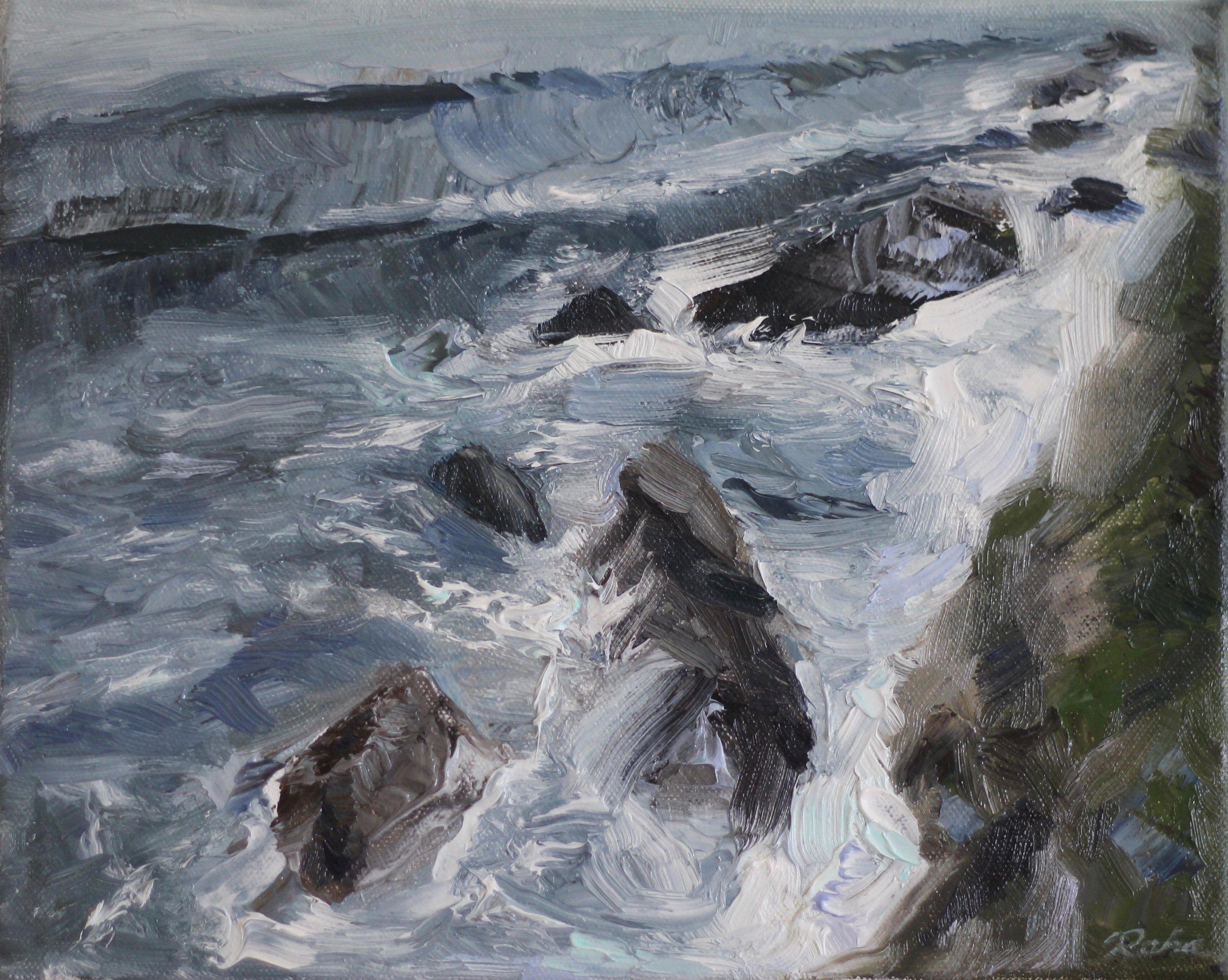 """Moss beach, 8 x 10"""" oil on canvas"""