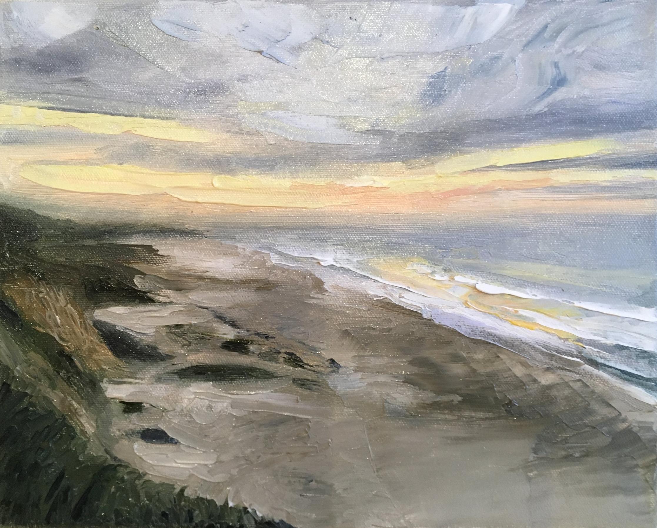 "Half moon bay, 12 x 9"" oil on canvas"