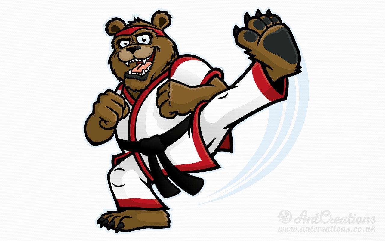 Martial Arts Bear Vector Illustrator Cartoons Characters Graphic Designer