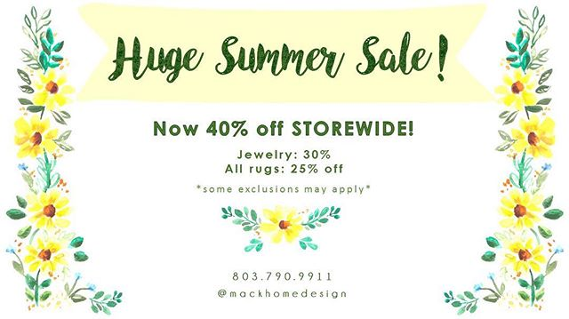 Come in and shop our 40% off storewide sale today!